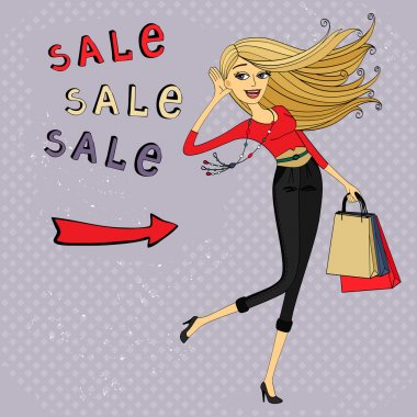 Fashion sale ad, shopping girl with bags