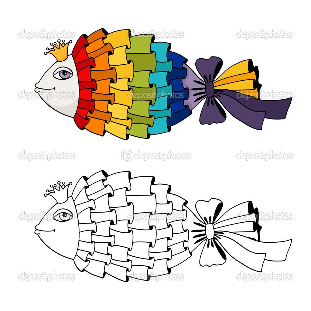 pez arco iris para colorear — Vector de stock © macrovector #36522111