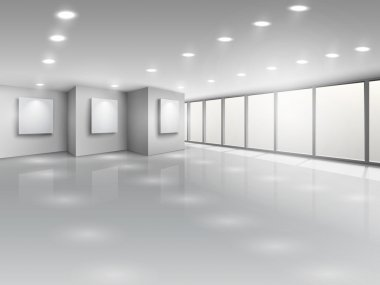 Empty gallery interior with light windows