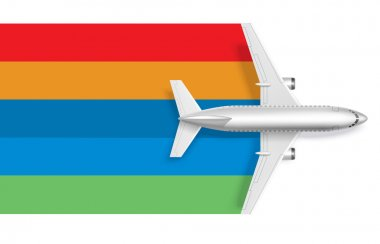 Airplane with blank rainbow for message text vector illustration stock vector