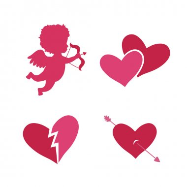 Set of cupid icons with heart arrows and angel isolated vector illustration clip art vector