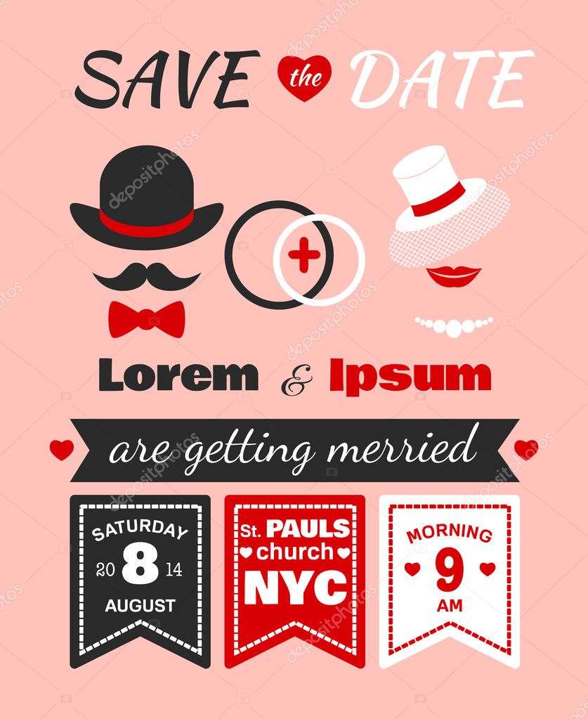 Hipster wedding invitation card — Stock Vector © macrovector #38236283