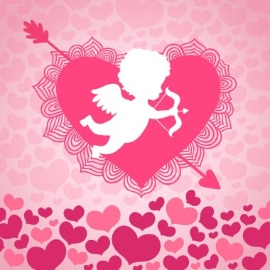 Valentines day angel of love with heart and arrow card or invitation vector illustration clip art vector