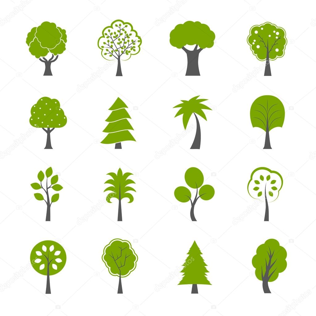Collection of natural green trees icons set