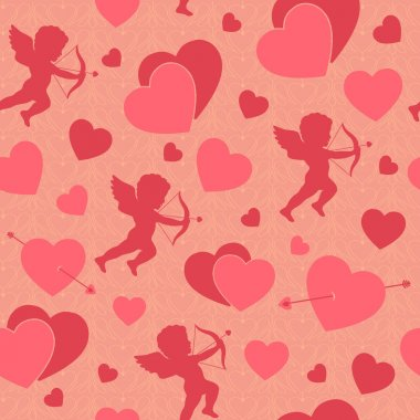Valentine day seamless romantic pattern background with cupids hearts and arrows vector illustration clip art vector