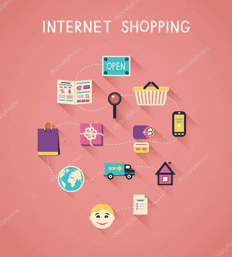 Internet marketing and online shopping infographics — Stock Vector ...