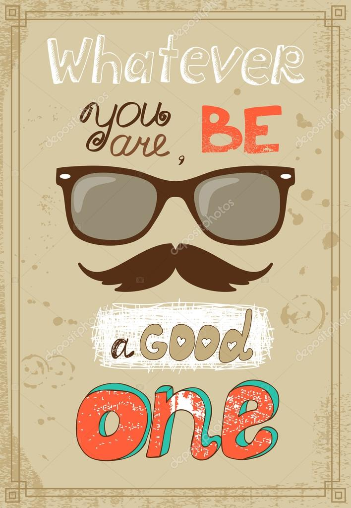 poster de hipster avec moustache de lunettes vintage et message image vectorielle macrovector. Black Bedroom Furniture Sets. Home Design Ideas