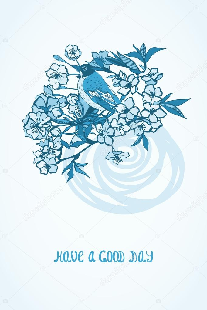 Good day wishing card with flowers and bird