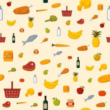 Supermarket food items seamless background