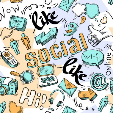 Seamless doodle social media pattern background