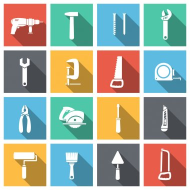 Tools flat icons set of spanner saw driver and paint isolated vector illustration stock vector
