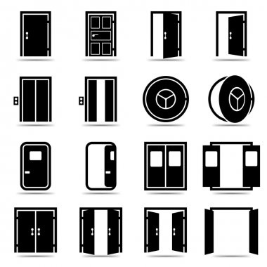 Open and closed doors icons set