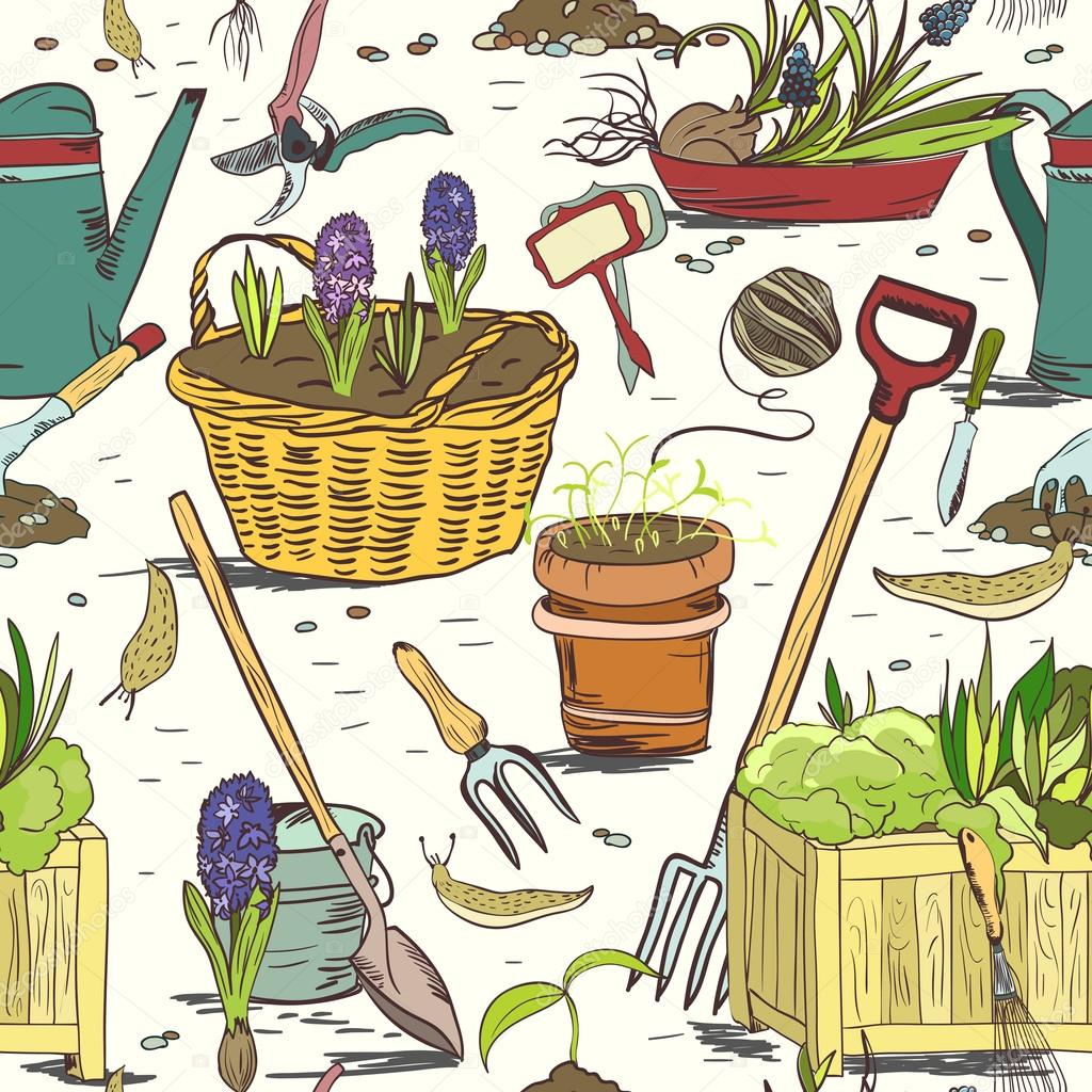 Seamless gardening tools pattern background