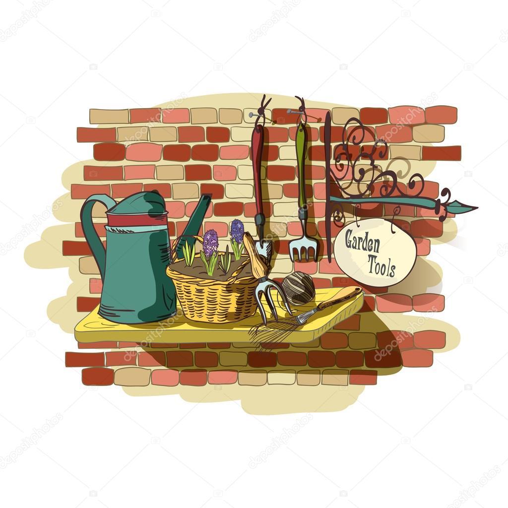 Hand drawn still life of gardening tools