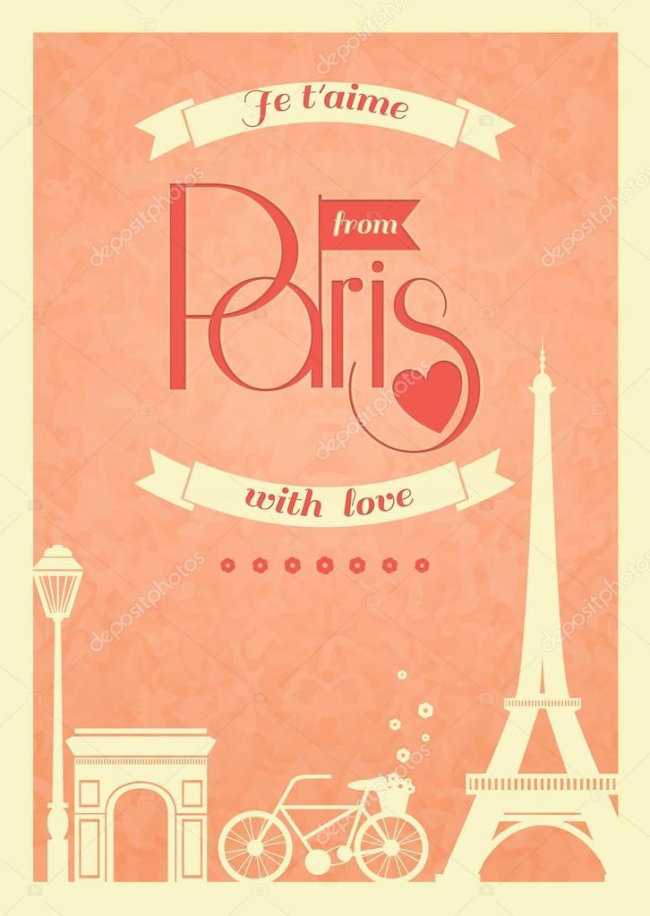 amor cartel retro vintage paris — Archivo Imágenes Vectoriales ...