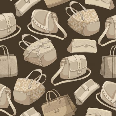 Seamless woman's stylish bags retro pattern