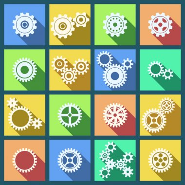 Collection of cogs and gears icons set