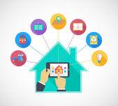 Ruka drží mobilní telefon ovládání inteligentních domů