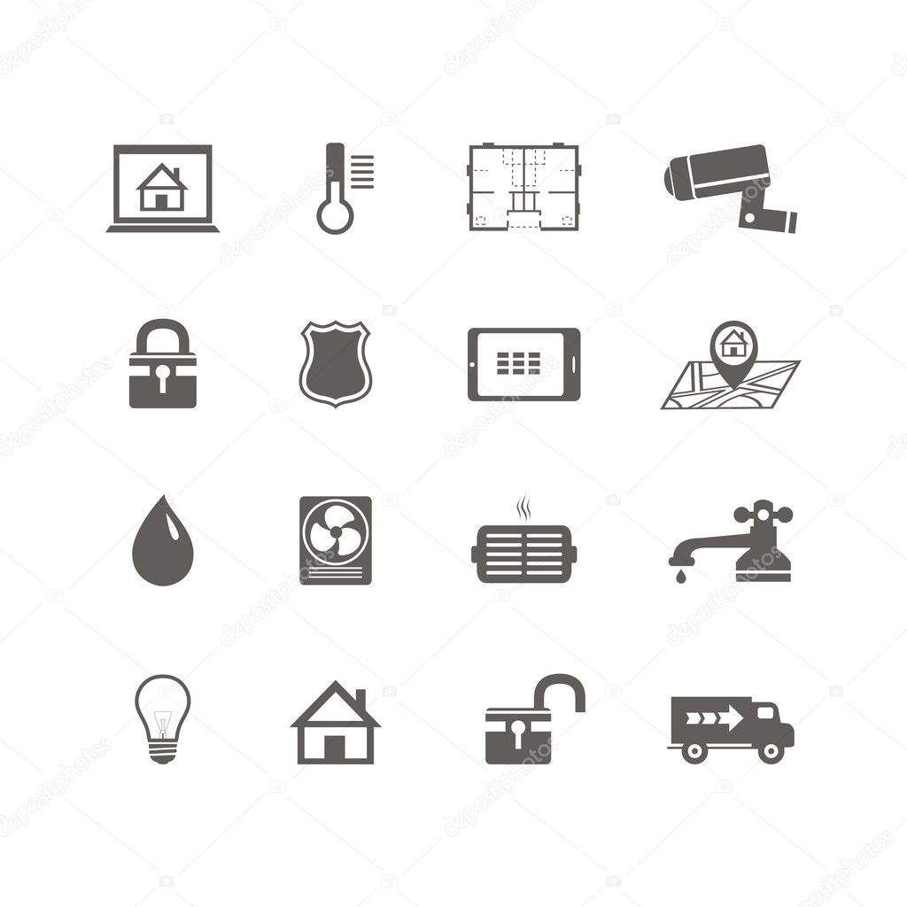 smart home automation technology icons set  u2014 stock vector
