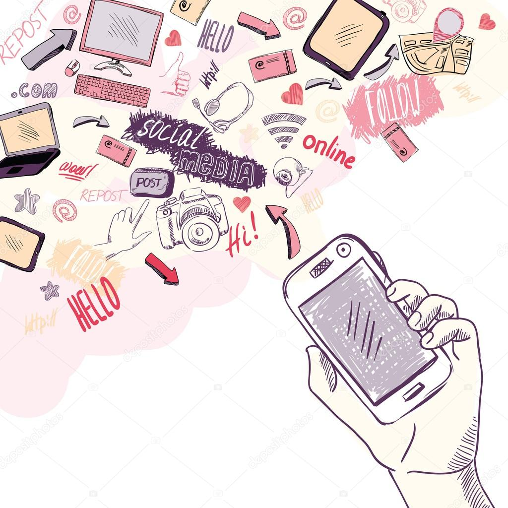 Hand holding mobile phone with social media applications