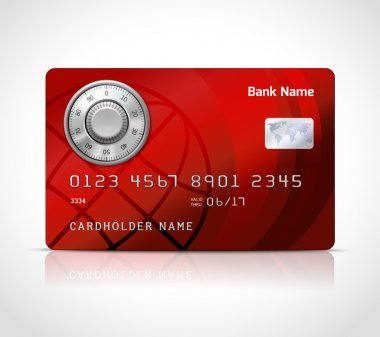 Realistic credit card template with code lock