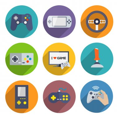 Video computer console games controller icons set of joystick keypad steering wheel isolated vector illustration stock vector