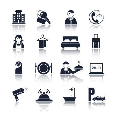 Hotel travel pictograms set