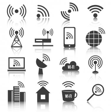 Wireless communication network business black icons set of wifi signal search cell tower and transmitter antenna isolated vector illustration stock vector