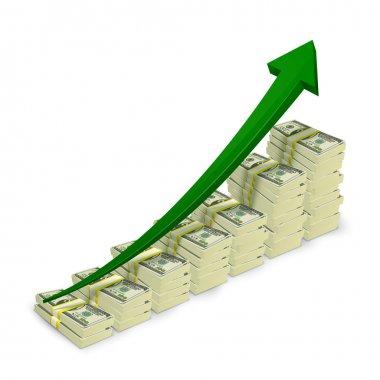 Money banknotes stacks rising graph