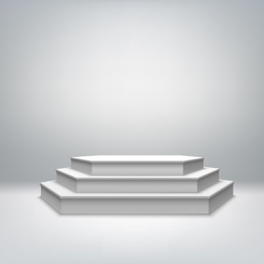 Blank white stage podium