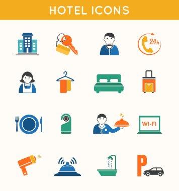 Hotel travel flat icons set
