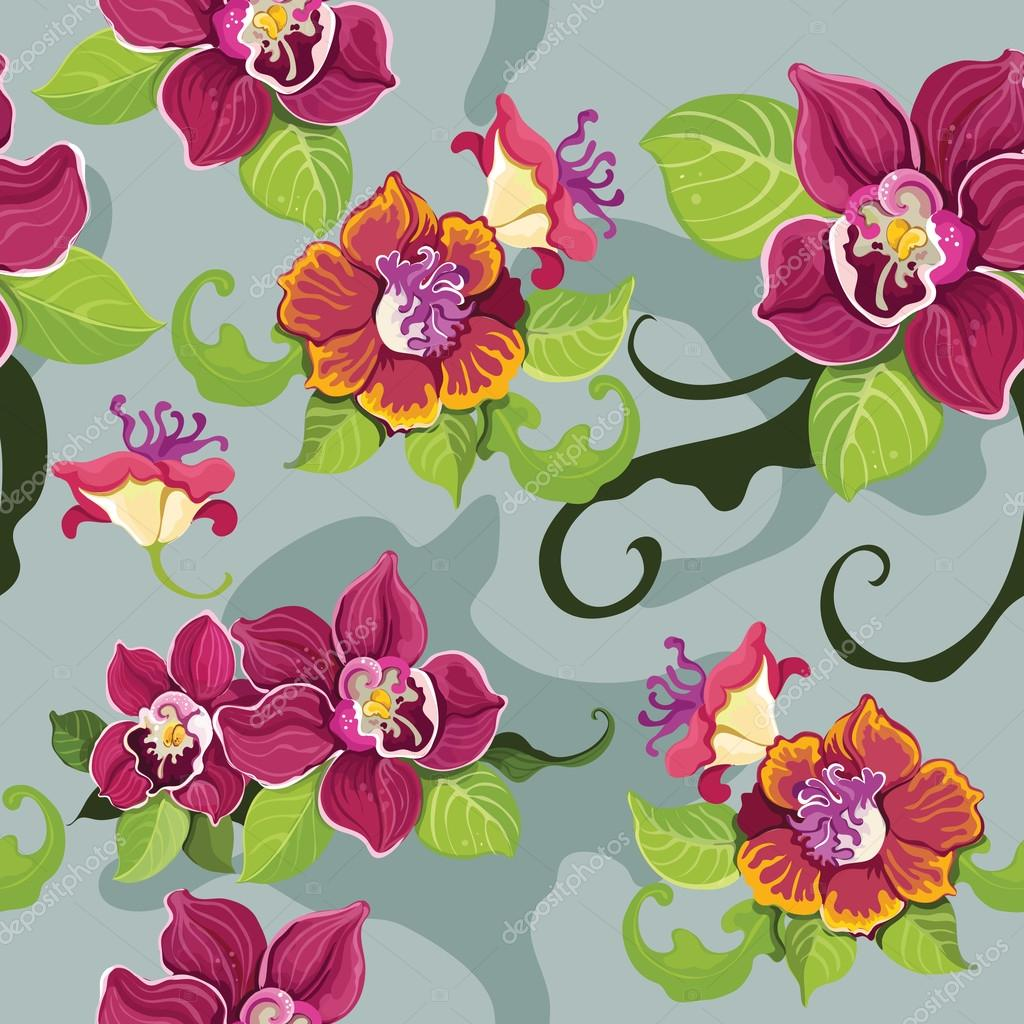Seamless tropical flower patternŒ