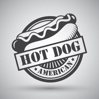 American hot dog bread sausage mustard emblem vector illustration stock vector