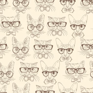 Cat hipsters seamless pattern