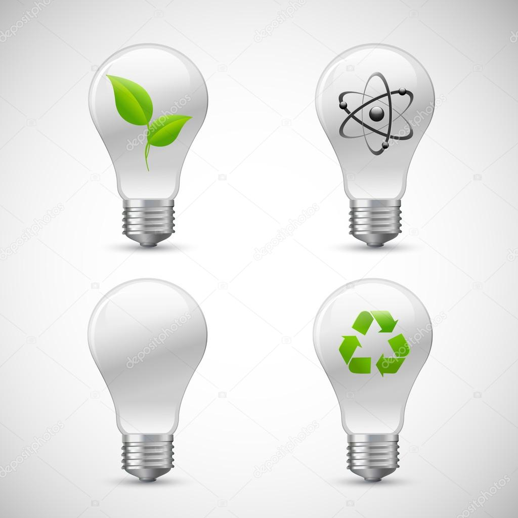 Lightbulb Eco Science Icons Set