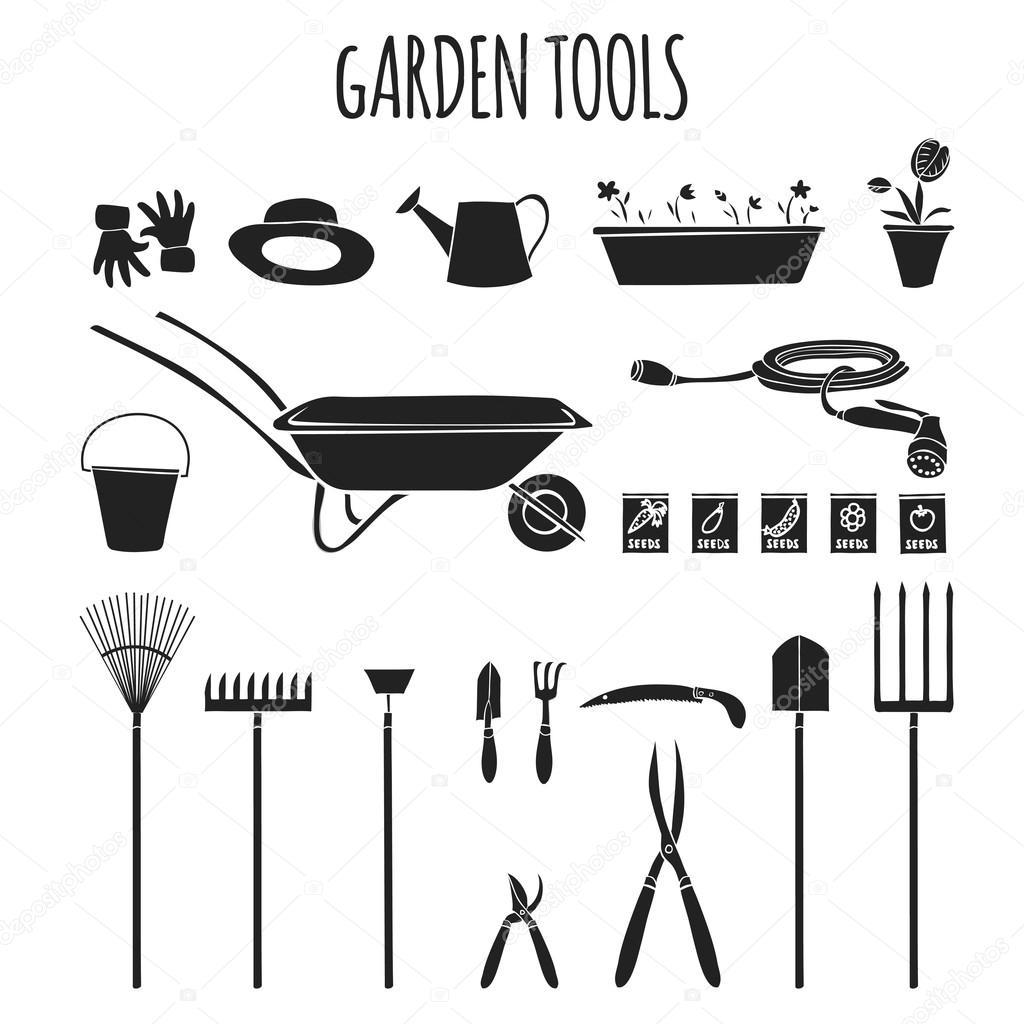 Jeu d\'icônes d\'outils de jardinage — Image vectorielle ...