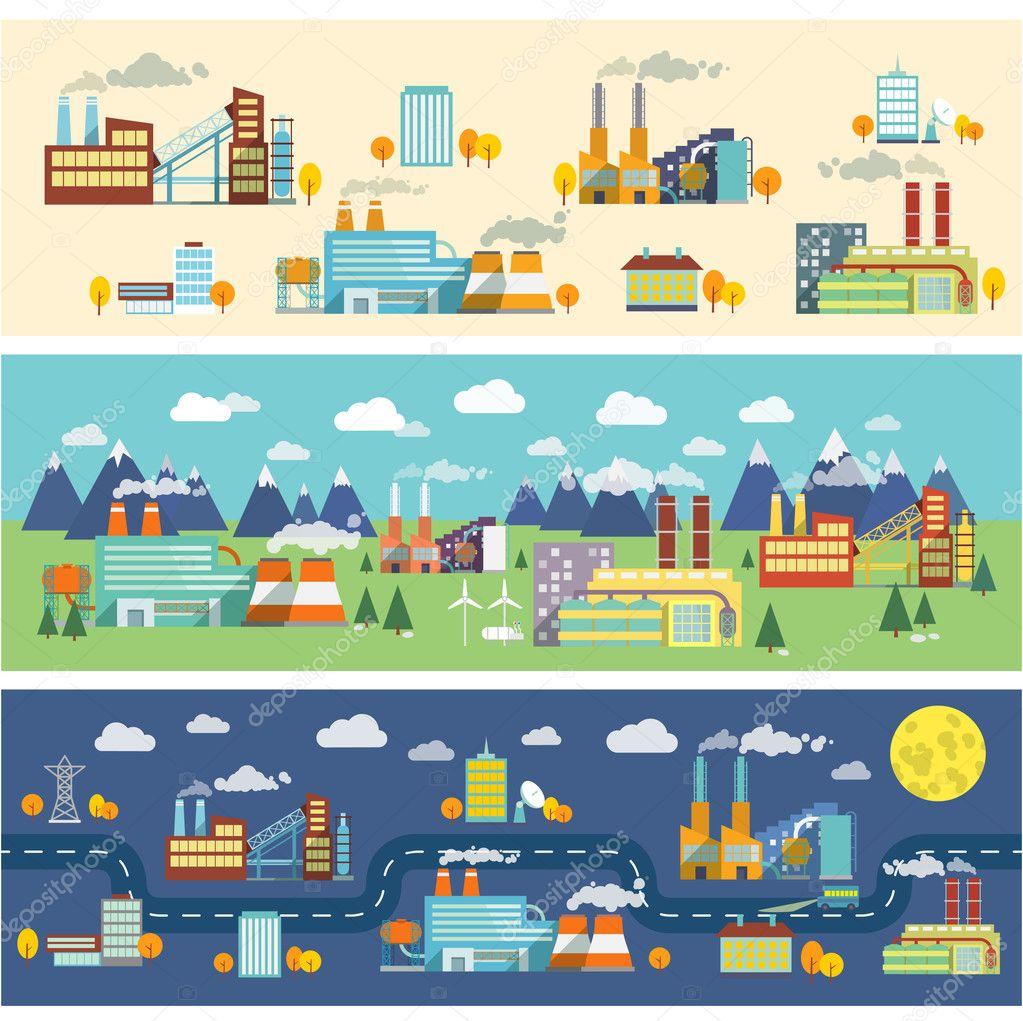 Industry buildings horizontal banners