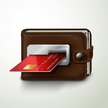 Brown leather wallet atm bank machine