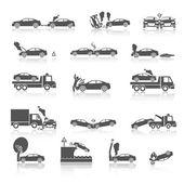 Photo Black and white car crash icons