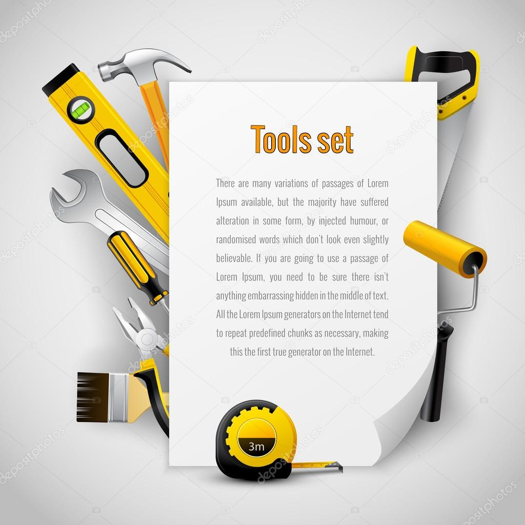 Realistic carpenter tools background frame