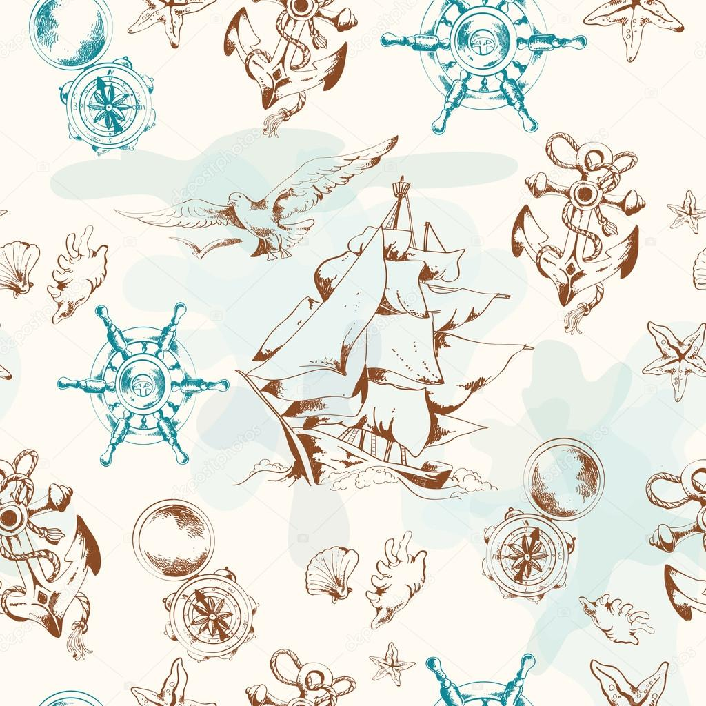 Sea vintage seamless patternŒ