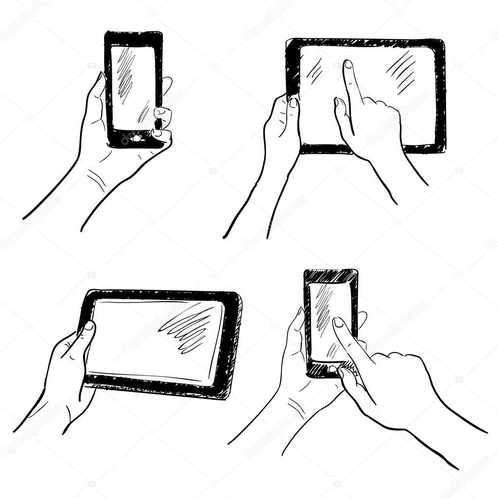 conjunto de desenho m u00e3os touchscreen  u2014 vetor de stock