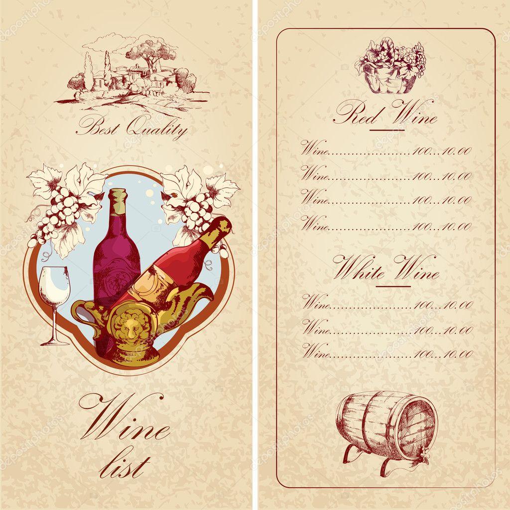 Wine list template — Stock Vector © macrovector #45608613