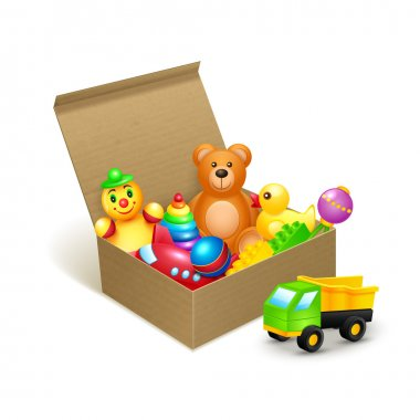 Decorative children toys collection in cardboard paper box vector illustration stock vector