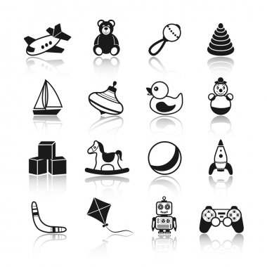 Black and white kid children toys icons set of airplane teddy bear rattle pyramid isolated vector illustration. stock vector
