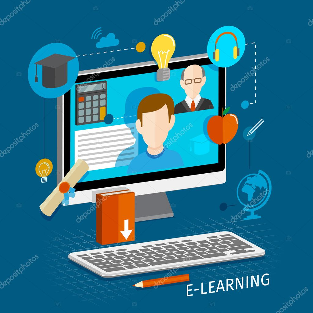 E learning poster designs - Education School University E Learning Flat Poster With Monitor And Icons Set Vector Illustration Vector By Macrovector