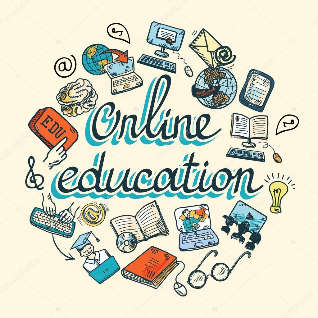 Online education icon sketch