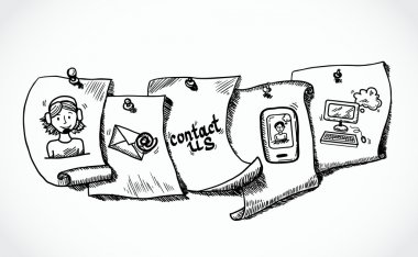 Contact us icons paper tags sketch