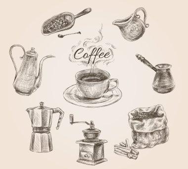 Hand drawn retro coffee set
