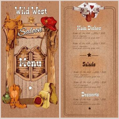 Wild west saloon menu